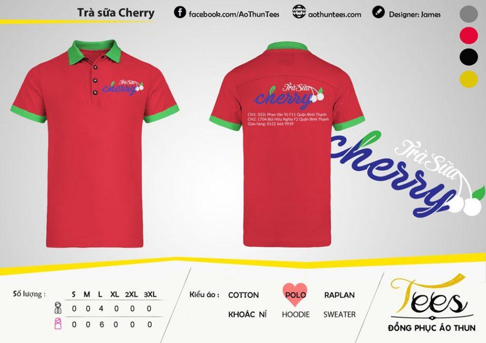 Áo thun đồng phục quán trà sữa Cherry