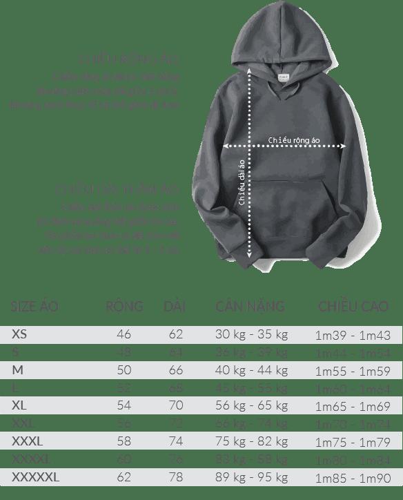size ao hoodie - Giới thiệu sản phẩm áo Hoodie - Sweater đồng phục