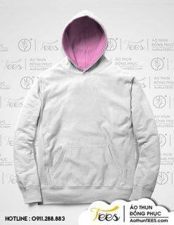 Áo hoodie đồng phục màu trắng lót nón hồng