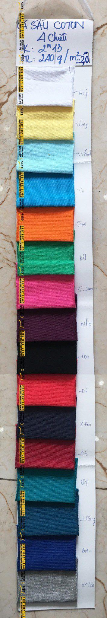 casau cotton 4chieu - Bảng màu vải cá sấu 100% cotton 4 chiều